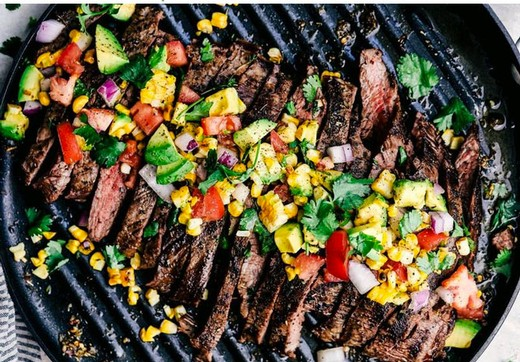 Grilled Garlic Herb Flank Steak with Avocado Corn Salsa