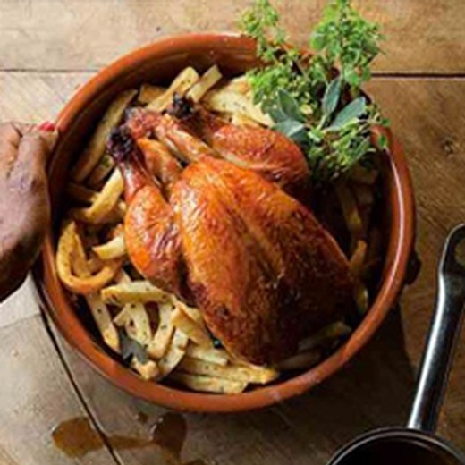 Roast Chicken with Herbed French Fries